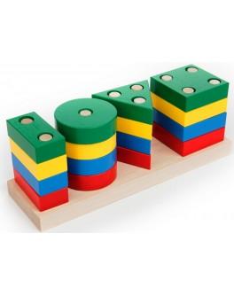 Деревянная игрушка Геометрик Классик, 4 фигуры, Komarovtoys - Kom 311
