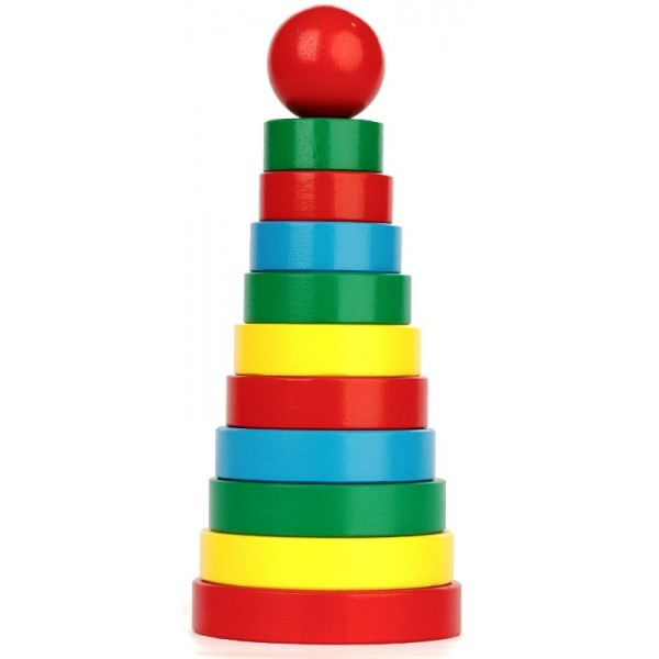 Деревянная игрушка Пирамидка 11 элементов Кольцевая, Komarovtoys - Kom 321