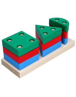 Деревянная игрушка Пирамидка Геометрик мини, 3 фигуры, Komarovtoys - Kom 309