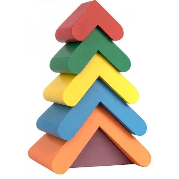 Деревянная игрушка пирамидка Цветная елочка, Komatovtoys - Kom 348