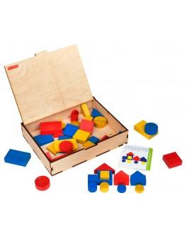 Логічні блоки Дьенеша, 48 деталей в дерев'яній коробці, Komarovtoys