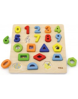 Деревянная рамка вкладыш Viga Toys Цифры и фигуры (50119)