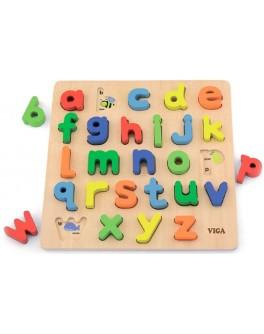 Деревянная рамка вкладыш Viga Toys Английский алфавит, строчные буквы (50125)