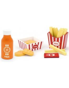 Іграшкові дерев'яні продукти Viga Toys Нагетси з картоплею фрі і соком (51603)