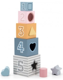 Дерев'яні кубики-пірамідка Viga Toys PolarB Сортуємо і складаємо (44016)