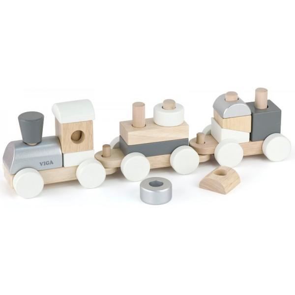 Экокубики Деревянный поезд Viga Toys