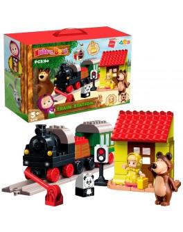 Конструктор пластиковый Маша и Медведь Qman Погоня за поездом 60 деталей (5210)