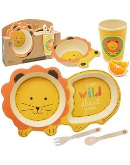 Набір дитячого бамбукового посуду 5 предметів Левеня 5 предметів (MH-2775)
