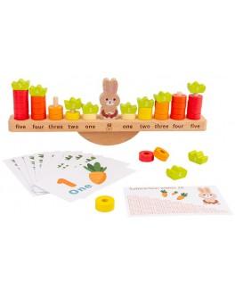 Дерев'яна іграшка Монтессорі ваги-балансир Заєць з морквинами (2714)