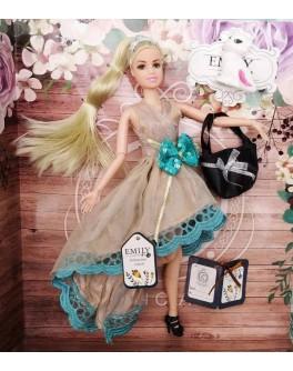Лялька шарнірна Emily блондинка у сукні з бантом та з аксесуарами 30 см (QJ 079 B)