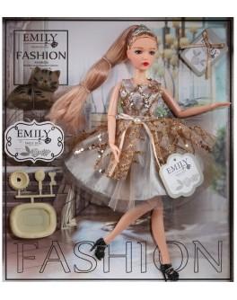 Лялька шарнірна Emily блондинка в сірій сукні з тваринкою та аксесуарами 30 см (QJ 090 B)