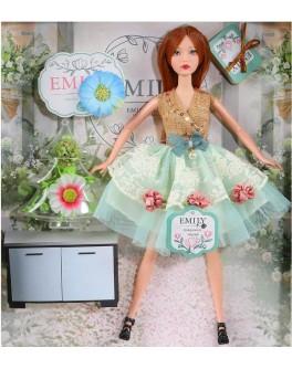 Лялька шарнірна Emily шатенка в бірюзовому платті з аксесуарами 30 см (QJ 088 B)