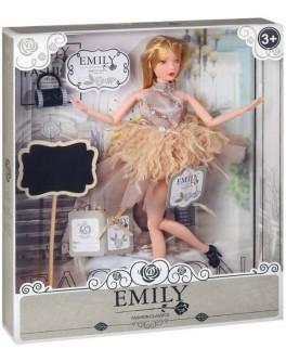 Лялька шарнірна Emily блондинка в бежевій сукні з аксесуарами 30 см (QJ 090)