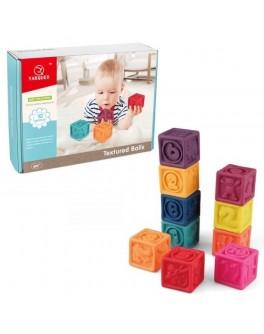 Текстурні кубики конструктор Тварини та цифри 10 шт (20021)