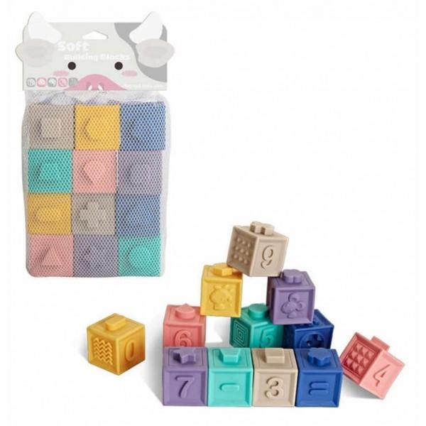 Текстурні кубики-конструктор Фігури, цифри, тварини 12 шт (1004)