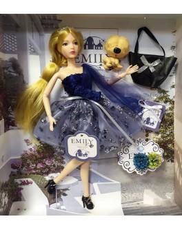 Лялька шарнірна Emily блондинка в синій сукні з тваринкою та аксесуарами 30 см (QJ 089 A)