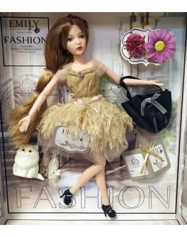 Лялька шарнірна Emily шатенка в бежевій сукні з тваринкою та аксесуарами 30 см (QJ 090 D)