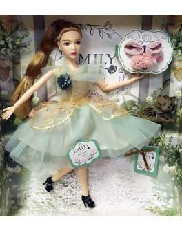 Лялька шарнірна Emily шатенка в зеленій сукні з тваринкою та аксесуарами 30 см (QJ 088)