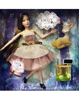 Лялька шарнірна Emily брюнетка в рожевій сукні з тваринкою та аксесуарами 30 см (QJ 087)