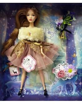 Лялька шарнірна Emily шатенка в рожевій сукні з аксесуарами 30 см (QJ 087 A)