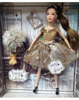 Лялька шарнірна Emily брюнетка в сірій сукні з тваринкою та аксесуарами 30 см (QJ 090 A)