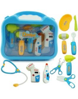 Набір лікаря 10 предметів, інструменти з підсвічуванням, в валізі (660-20)