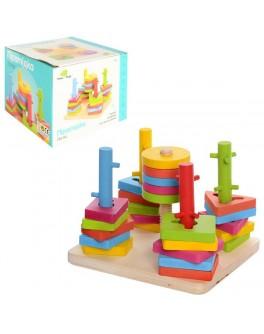 Дерев'яна іграшка Пірамідка-ключ 5 основ на підставці, 25 деталей для нанизування (MD 0061)