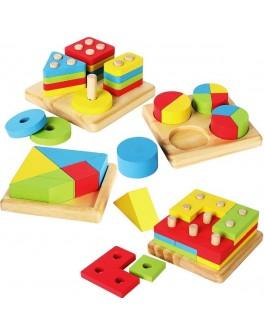 Дерев'яна іграшка Vivi Wood Toy Геометрика сортер 4в1 (MD 1191)