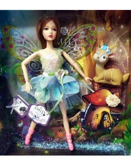 Лялька шарнірна Emily шатенка фея з улюбленцем та аксесуарами 30 см (QJ 093 A)