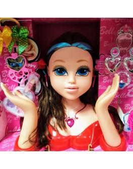 Лялька манекен з синіми прядками в волоссі Belle для зачісок та макіяжу (8869-21 А)