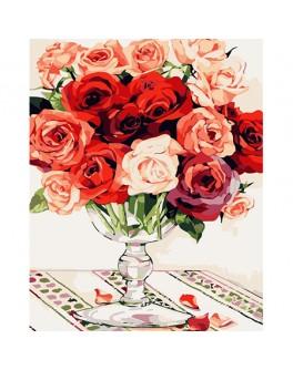 Роспись по холсту по номерам Красно-белый букет роз - MLT mg118