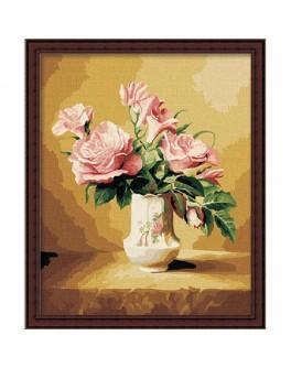 Роспись по холсту по номерам Пастельные розы - ves mg093