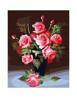 Роспись по холсту по номерам Розовые розы - Ves 58234