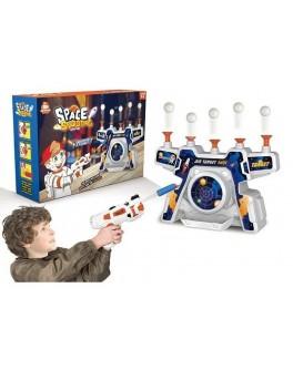 Тир повітряний з пістолетом на батарейках, музика, 12 м'яких патронів, 10 пінопластових кульок (S 3257)