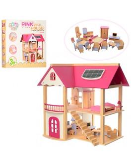 Деревянный домик для куклы с мебелью (MD 1068)