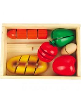 Деревянный набор продуктов на липучках Готовим завтрак - средний, Мди - Der 168