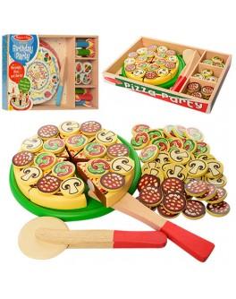 Деревянная игра Пицца/Торт нарезная на липучках (MD 1075)