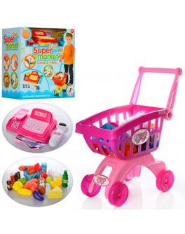 Детский кассовый аппарат с продуктами и тележкой (6809-09A)