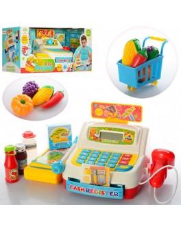 Детский кассовый аппарат с продуктами и тележкой