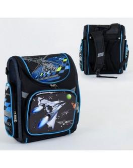 Рюкзак шкільний каркасний Космічний корабель 1 відділення, 3 кишені, спинка ортопедична, 3D принт (С 36190)