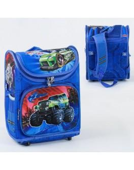 Рюкзак шкільний каркасний з машинами 1 відділення, 3 кишені, спинка ортопедичне (С 36174)