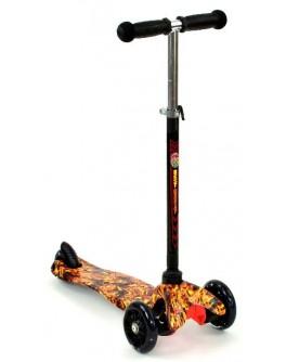 Трехколесный самокат Best Scooter mini светящиеся колёса (руль 55-65 см)