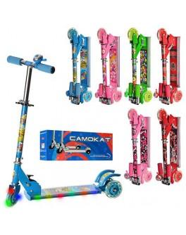 Самокат детский складной трёхколёсный BB 3-011-1 | музыка и свет (руль 54-76) - mpl BB 3-011-1