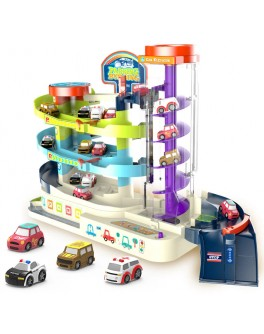 Дитячий музичний гараж для машинок з автоматичним підйомником 3 поверхи, 4 машинки (Т 103-77 А)
