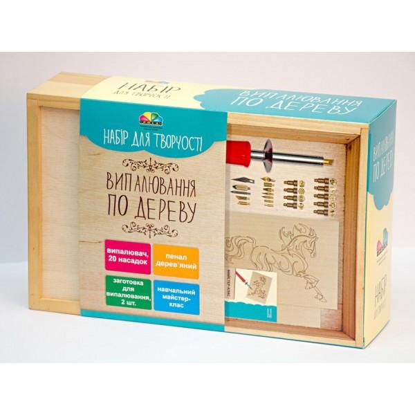 Выжигатель по дереву, набор в деревянной коробочке - N000151